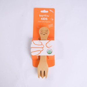Bambu Kids Wood Bamboo Utensils Fork Spoon Toddler